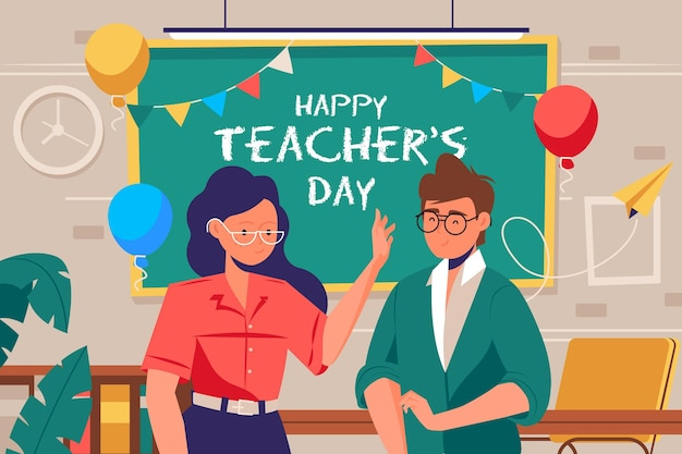 Hand drawn teachers' day with man and woman