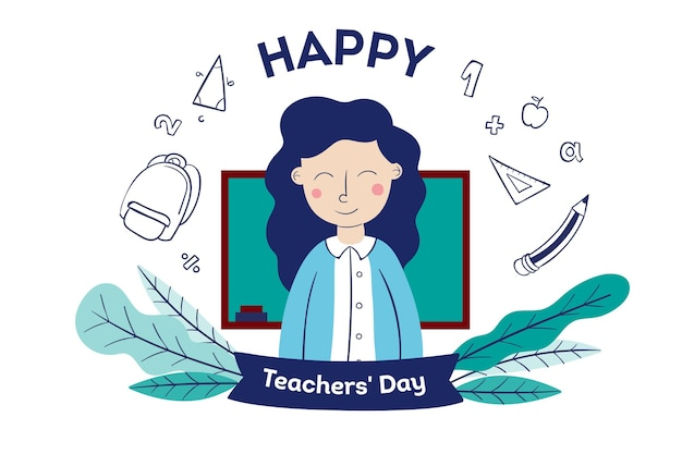 Hand drawn teachers' day with woman