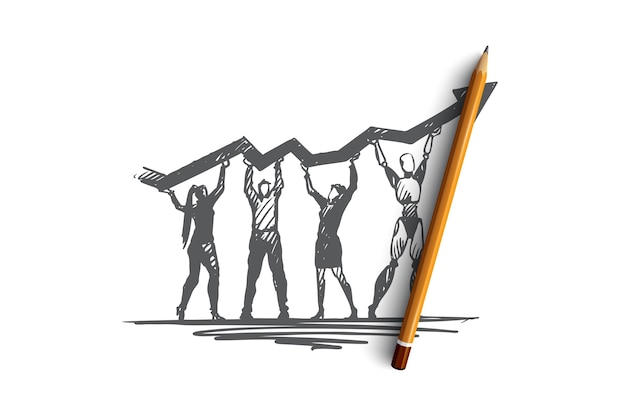 Hand drawn teamwork human with robot common goal concept sketch. isolated vector illustration