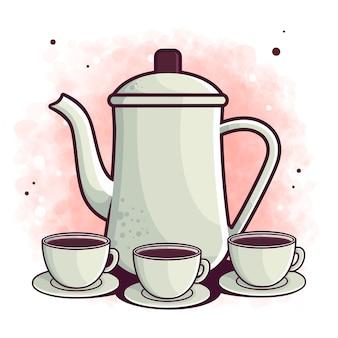 Нарисованная рукой иллюстрация чайника и чашки