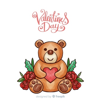 Hand drawn teddy bear valentine's day background