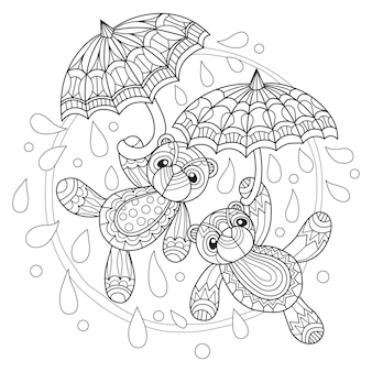 Hand drawn teddy bears and umbrella