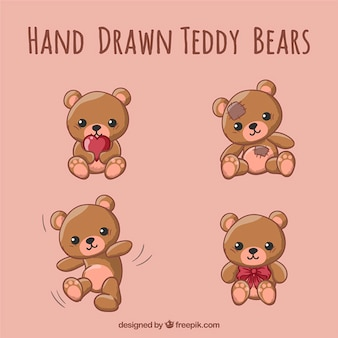 Hand drawn teddy bears