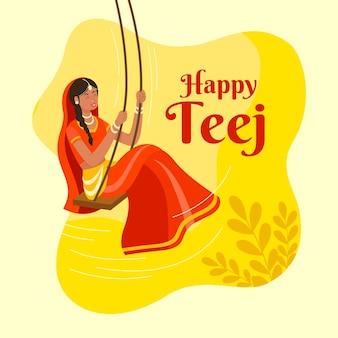 Illustrazione disegnata a mano di celebrazione del festival del teej