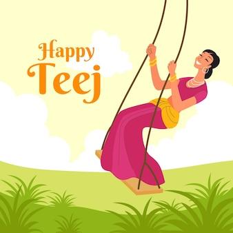 손으로 그려진 된 teej 축제 축하 그림
