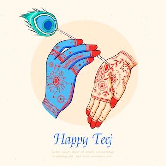 Hand drawn teej festival illustration