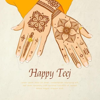 Нарисованная рукой иллюстрация фестиваля teej