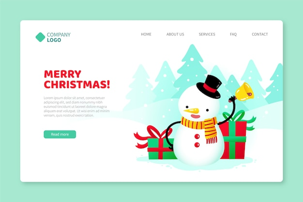 Hand drawn template christmas landing page