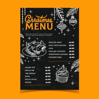 Hand drawn template christmas menu