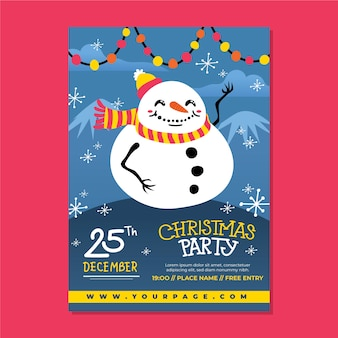 Hand drawn template christmas party poster
