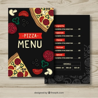Hand drawn template for pizza menu