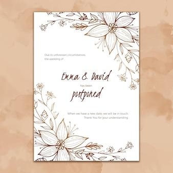 Ручной обращается шаблон для отложенной свадебной открытки