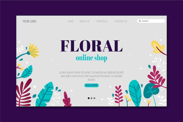 Hand drawn template nature landing page