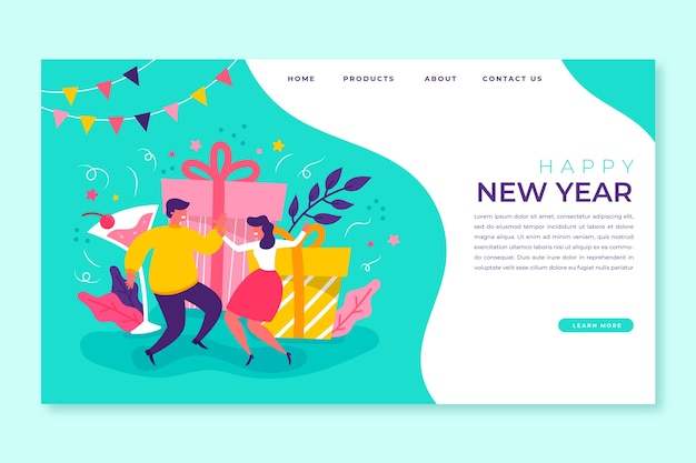 Hand drawn template new year landing page