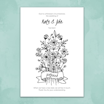 Hand drawn template for postponed wedding card