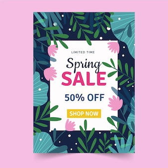 Hand drawn template spring sale flyer