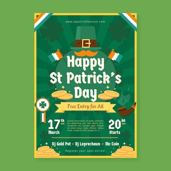 Hand drawn template st. patrick's day flyer