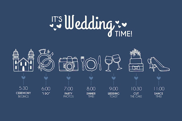 Hand drawn template wedding timeline