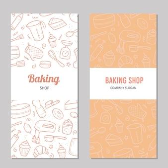 ベーキングと調理ツールで手描きテンプレート