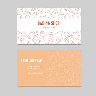 Hand drawn template with baking and cooking tools, mixer, cake, spoon, cupcake, scale. doodle sketch style. illustration for baking shop, bakery business card design.