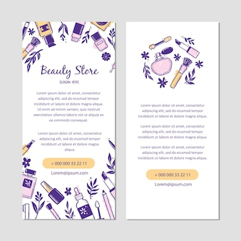Hand drawn template with makeup beauty cosmetic elements