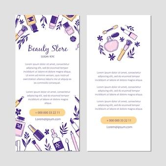 化粧の美しさの化粧品の要素と手描きのテンプレート