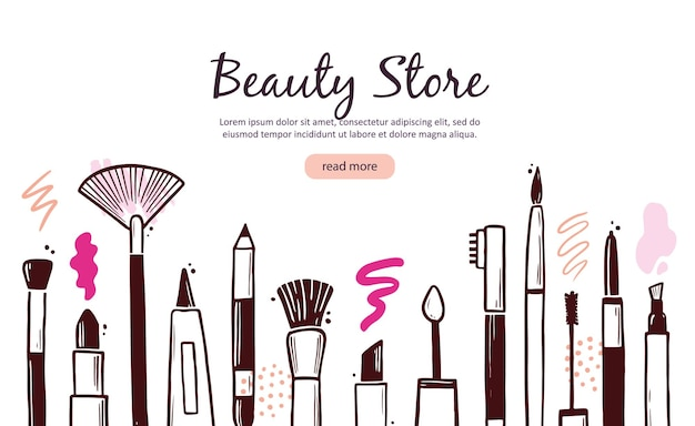Hand drawn template with makeup beauty cosmetic