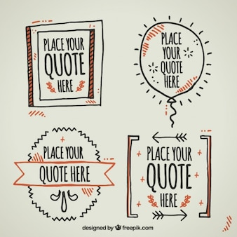 Hand drawn templates to write quotes