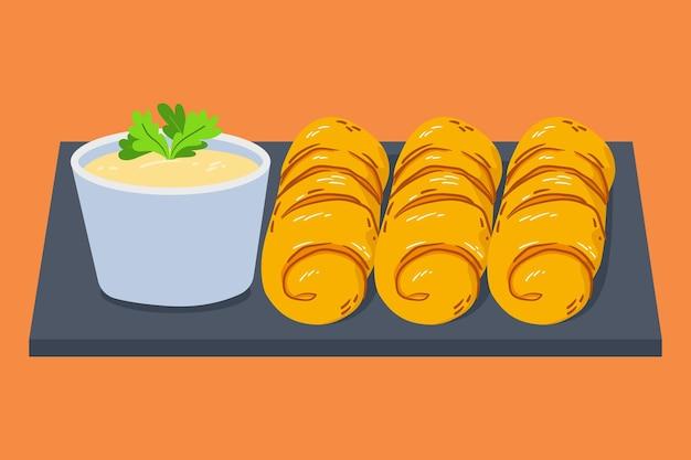 Ручной обращается блюдо текенос и соус