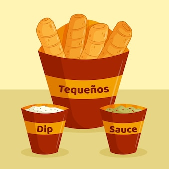 Hand drawn tequenos dish with dip and sauce