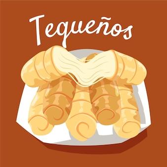 Нарисованная рукой иллюстрация tequeños на тарелке