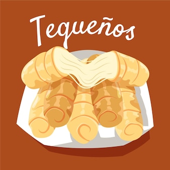 Hand drawn tequeños illustration on plate