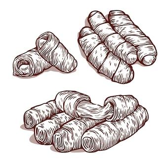 Set di tequeños disegnati a mano