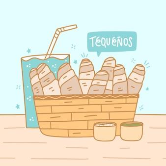 Illustrazione disegnata a mano dei bastoncini di tequeños