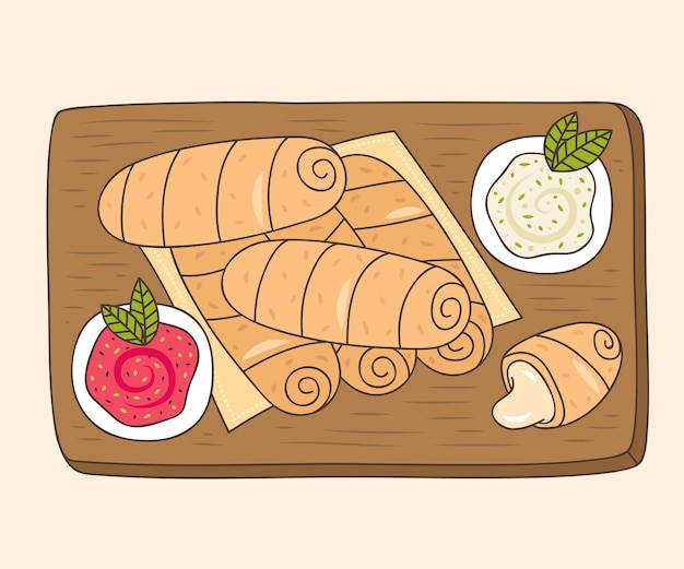 Tequeños disegnati a mano sulla tavola di legno