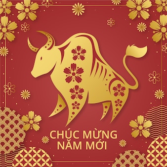 Hand drawn têt bull illustration