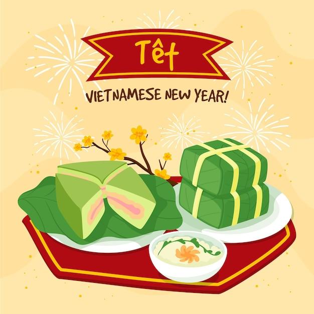 Hand drawn têt vietnamese new year