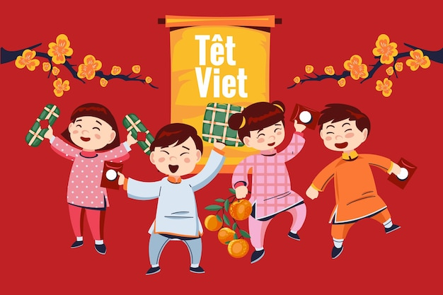 Hand drawn têt vietnamese new year
