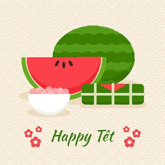 Hand-drawn tet with watermelon