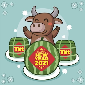 Hand-drawn tet with watermelons and bull