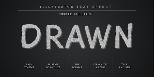 Hand drawn  text effect, font style