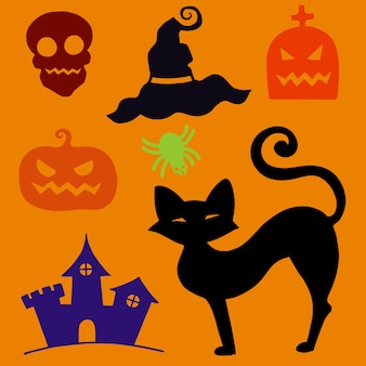 Hand drawn textured halloween set of a coffin, pumpkin, skull, and spider