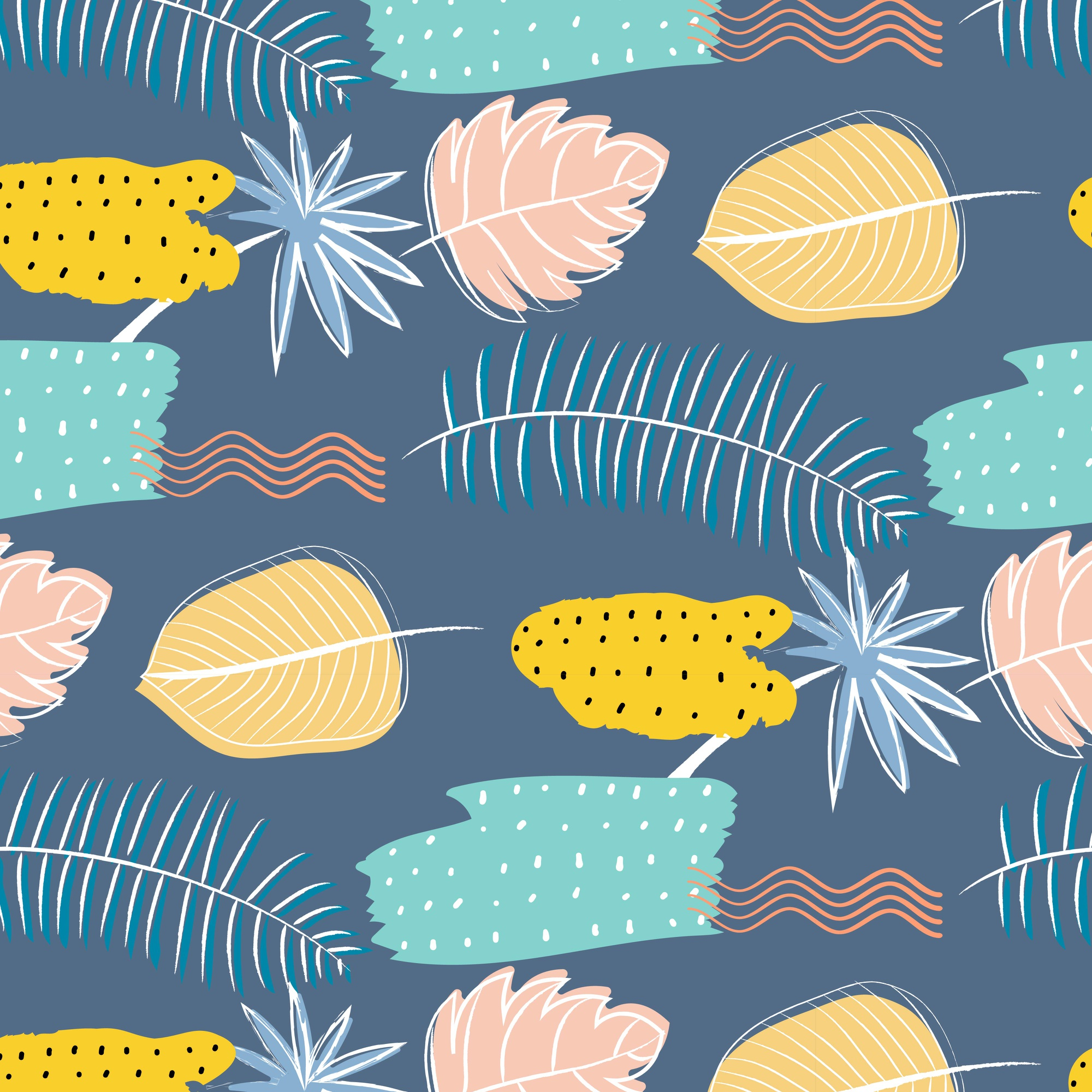 Hand Drawn Textures Abstract Floral Pattern Background.