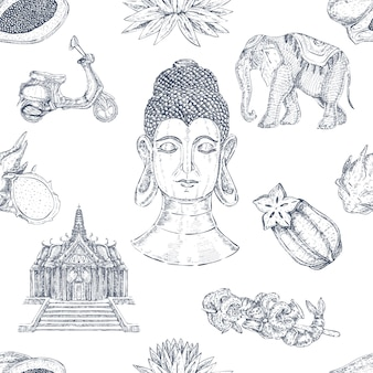 Hand drawn thai seamless pattern
