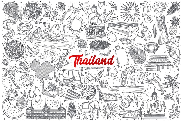 Hand drawn thailand doodle set background with red lettering