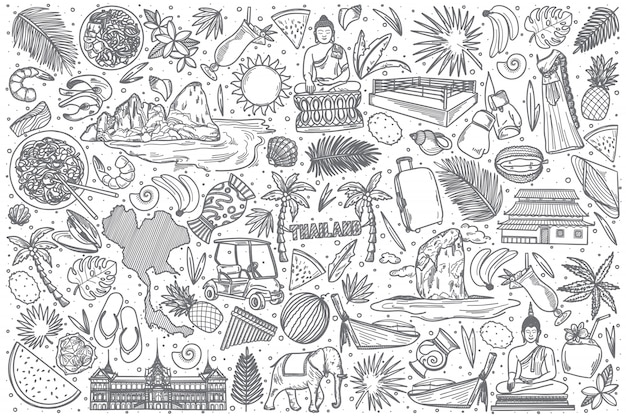Hand drawn thailand doodle set