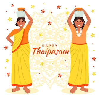 Illustrazione disegnata a mano di thaipusam