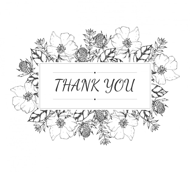 Hand drawn of thank you card floral
