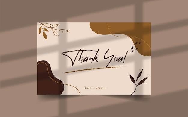 Hand drawn thank you card template