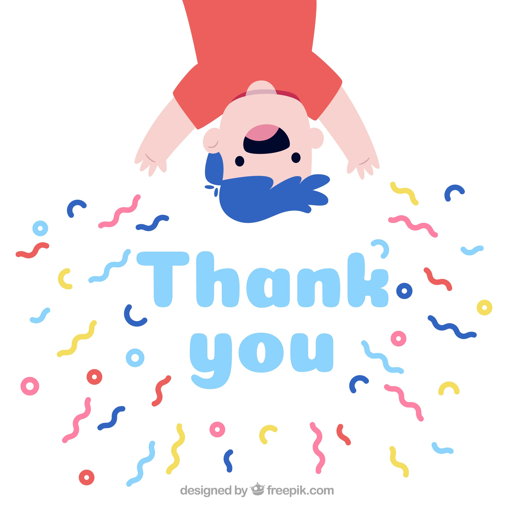 Hand drawn thank you composition with confetti
